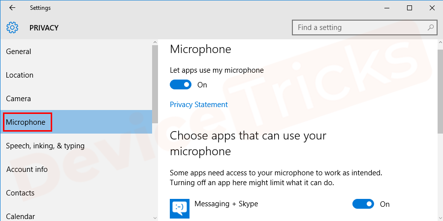 At the left panel, you will find multiple options. Here, you need to look for the 'Speech' or 'Microphone' Click the same.