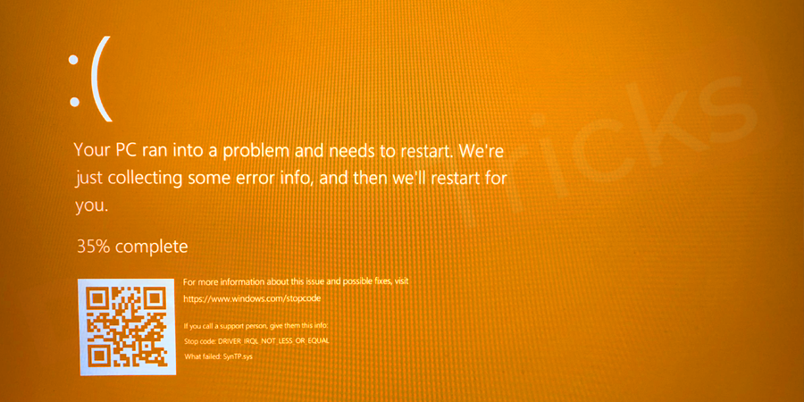 What does this Orange Screen of Death mean?
