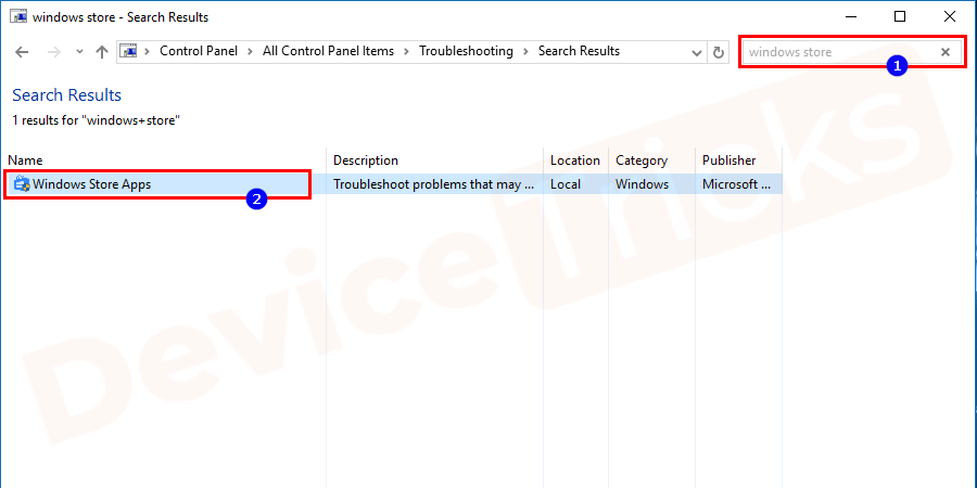 Scroll down to the list to select Windows Store Apps and click on Run the troubleshooter button.