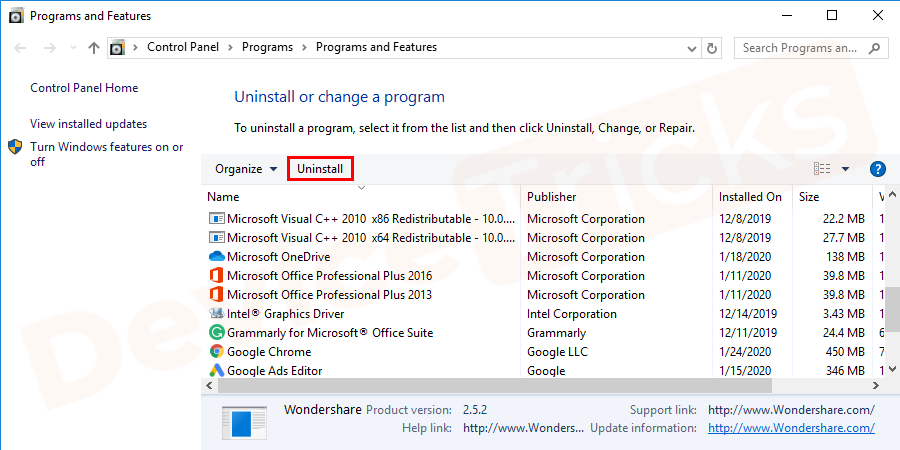 Now, select the recently installed software and then click on the 'Uninstall' button located at the top of the page.