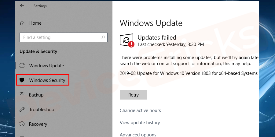 Thereafter, you will find the summary of Windows Update and at the left end of the page, you will get some useful options, click on 'Windows Security'.