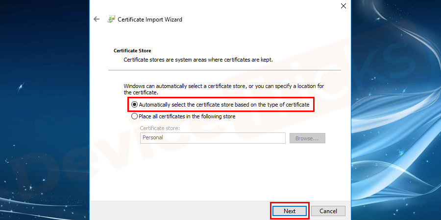 select the certificate store