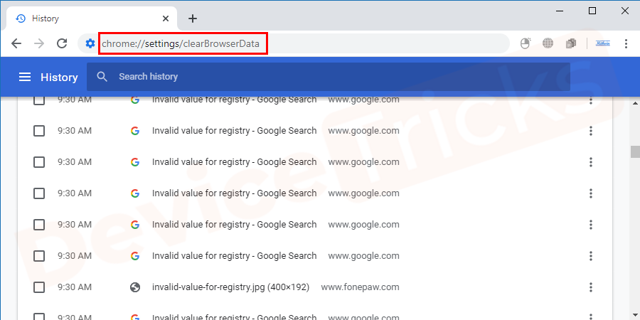 Note: You can copy and paste this URL (chrome://settings/clearBrowserData) to directly open the browsing history panel in google chrome.