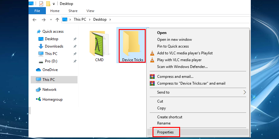 Right-click on that particular file or folder and select Properties.