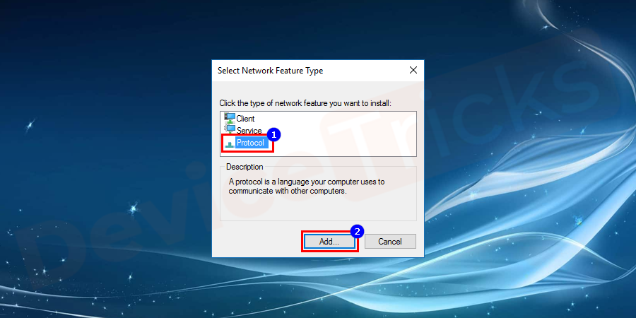 In the next screen, choose the Reliable Multicast Protocol option and select to Add.
