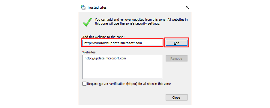 Whitelist the Windows Update servers to Fix the Error code: 0x80070035