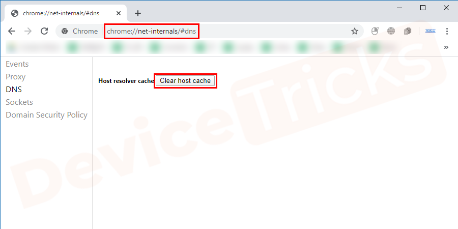 On the page you will find 'Host resolver cache' and parallel to the same you will get 'Clear host cache' button, click on it.