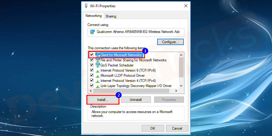 Click on the Client for Microsoft Networks option and select Install.