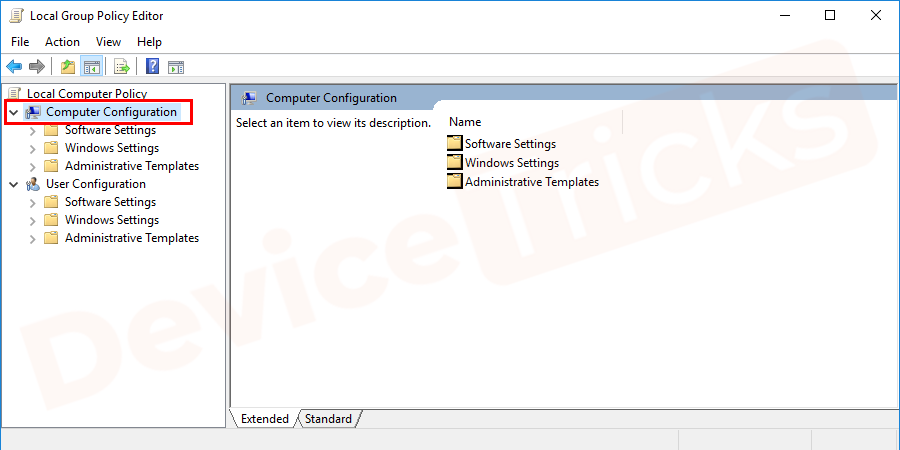 Thereafter, a new window will appear on the screen that will feature multiple options at the left end of the page, click on 'Computer Configuration'.