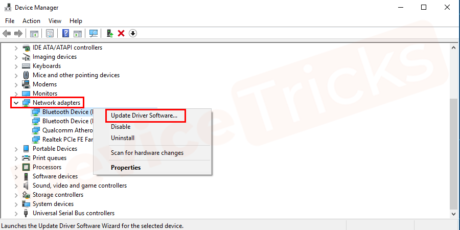 Now, inside the 'Network adapter', right-click on an item and then choose 'Update Driver Software' from the featured options. Repeat the process for all the drivers given inside.