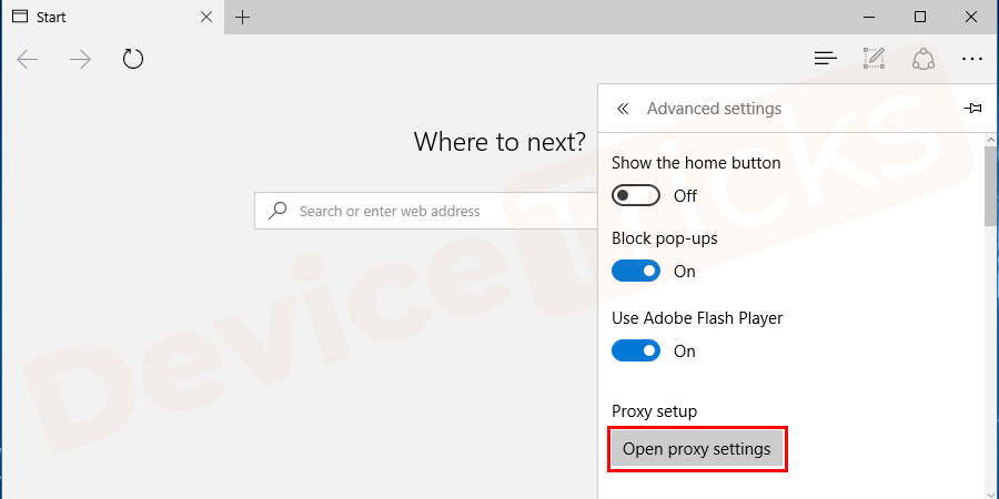 In the 'Advanced settings page' you will get 'Proxy setup' and beneath it, 'open proxy settings' is listed, click on it.