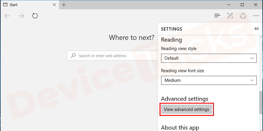 In the 'settings' page, you will find the 'Advanced settings' section and beneath the same 'view advanced setting' button is located, click on it.