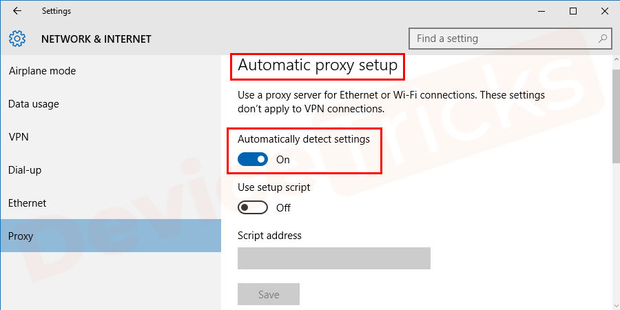 Soon, the 'Automatic proxy setup' page will appear on the screen, move to the 'Automatically detect settings' section and turn the radio button in ON mode.