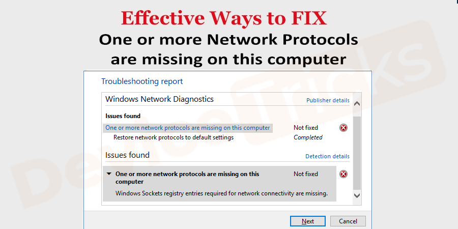 How to fix missing network protocols Windows 10 error?