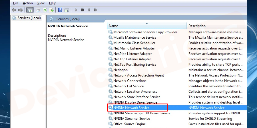 Select NVIDIA Network Service and enable it in Start mode.