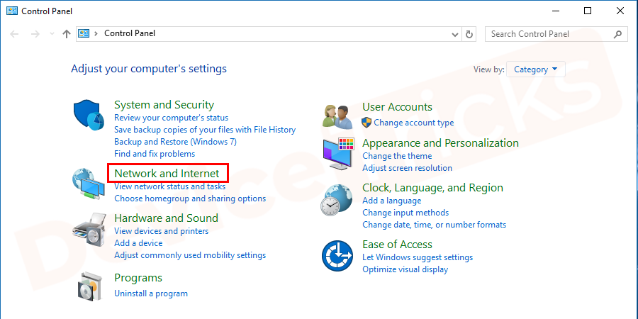 A new window will open and here you need to select the 'Network and Internet' section.