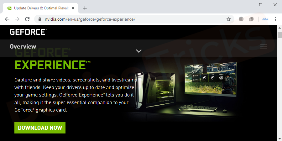 Thereafter, you will be directed to the latest version of GeForce Experience, click on 'Download' button.
