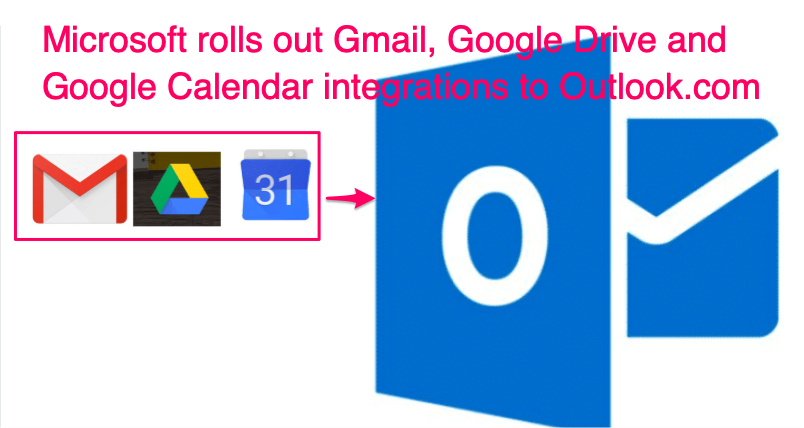 Gmail, Drive and Google Calendar adds to Outlook.com