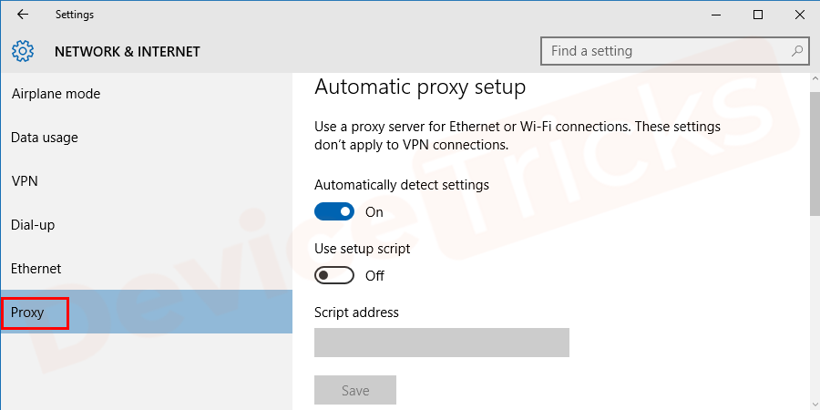 Soon, you will get the Network settings and additional options at the left end of the page, click on 'Proxy' located at the bottom of the page.