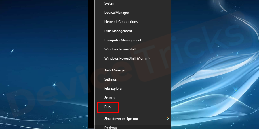 If you are using Windows 10 then move to the 'Start' menu, right-click on it and then choose 'Run' from the featured list.