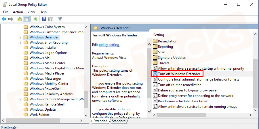 In the Windows Defender Antivirus list, you will find an option 'Turn off Windows Defender Antivirus', click on it.