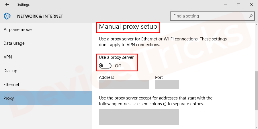 Move to the 'Manual proxy setup' section and make sure 'Use a proxy server' is in Off mode. However, if it is in ON mode and you access the internet through a proxy server, then be sure to enter the valid and correct address and port of the proxy server.