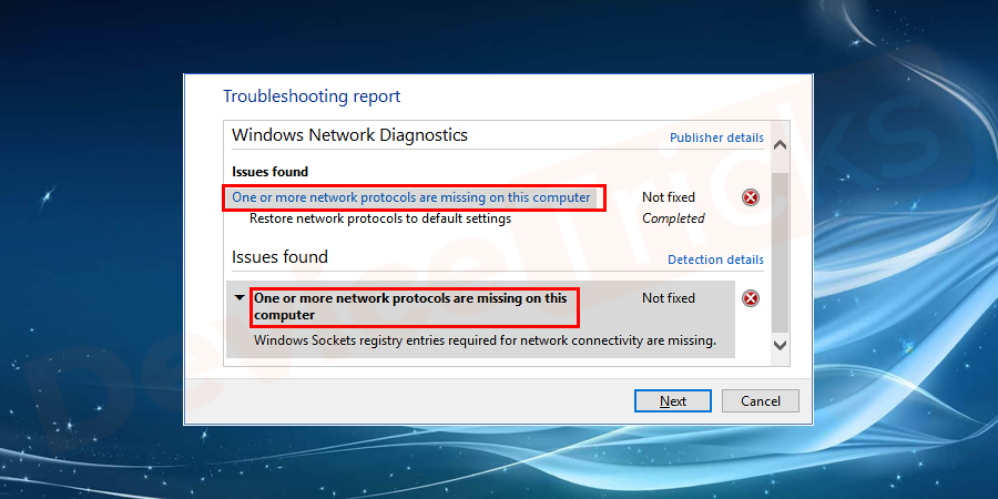 "What does ""One or more network protocols are missing"" error mean?"