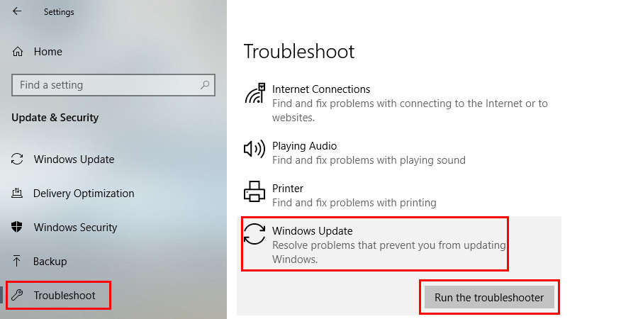 Run Windows Update Troubleshooter to fix the Error code: 0x80070035