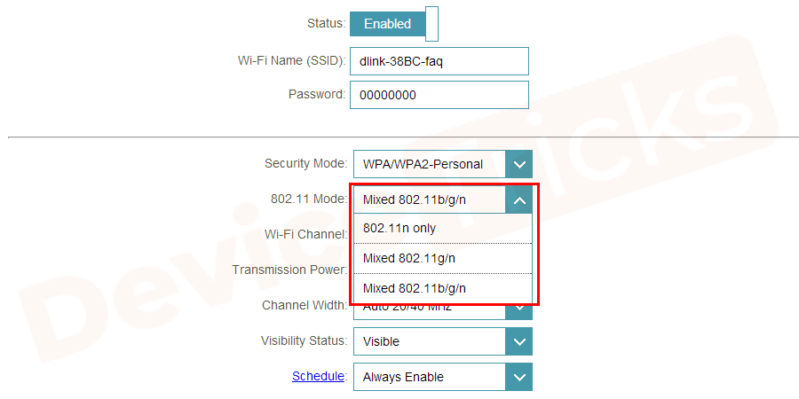 Now set your wireless router's Mode to 802.11g.