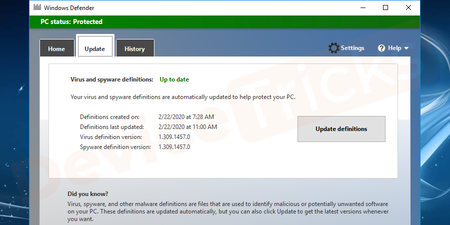 While you open the antivirus, you will have an option to update the antivirus software.