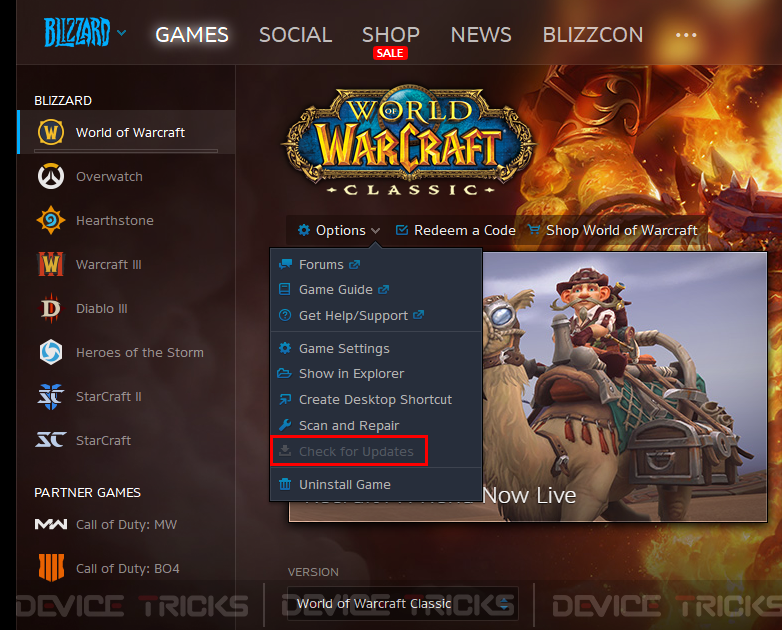 How to Fix World of Warcraft Error 132 Fatal Exception?