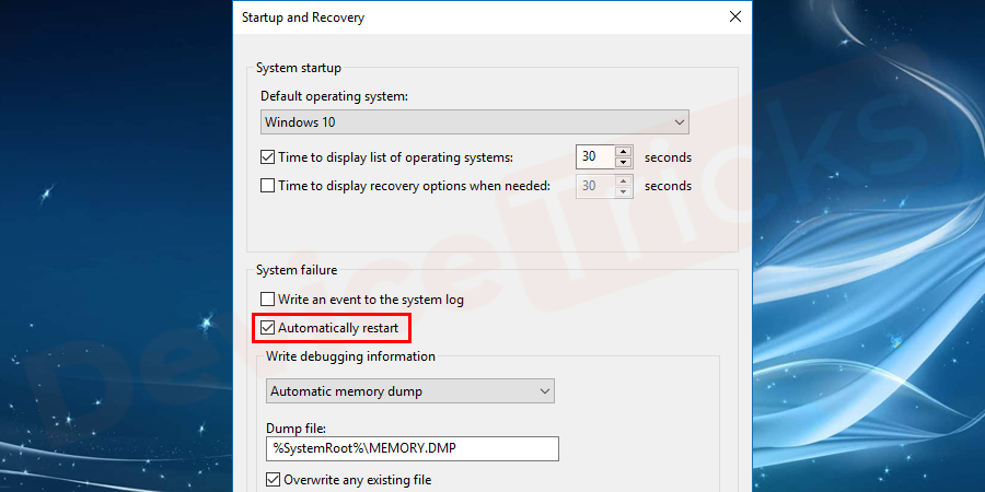 "After completing the above steps, close the command box and then move back to the step of ""System Failure Here >> Write an event to the system log"". Here, you will have to disable the Automatically restart option."
