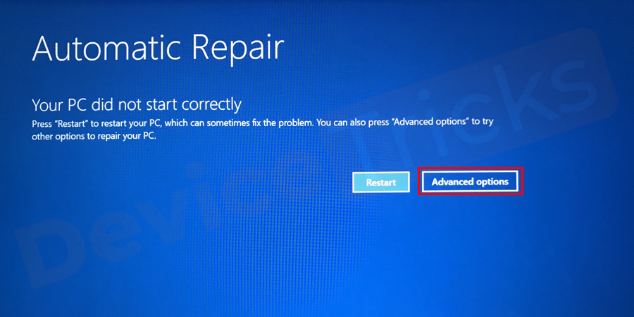 In the Recovery window, you will get two options, Restart my PC and See advanced repair options, you need to select the later one.