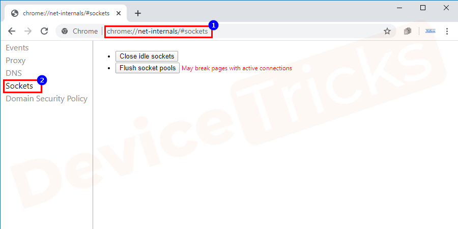 The above step will direct you to a new page and at the left end, you will find a few options, click on 'Sockets'.