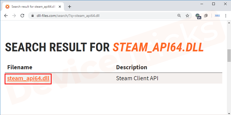 Thereafter, you will get the search result which will show the steam_api64.dll file and you need to select the version and then click on the file to download.