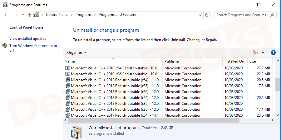 Check in the list if you have installed the setup.