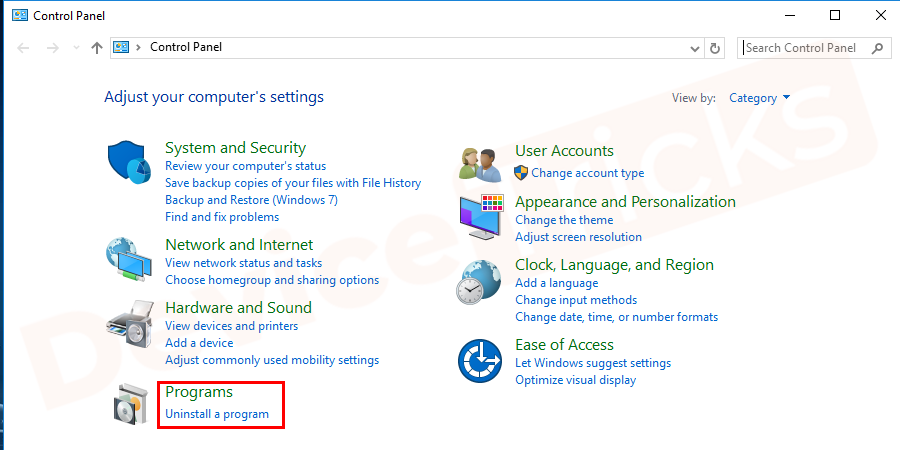 Go to the program sectionand Choose the uninstall a program option.