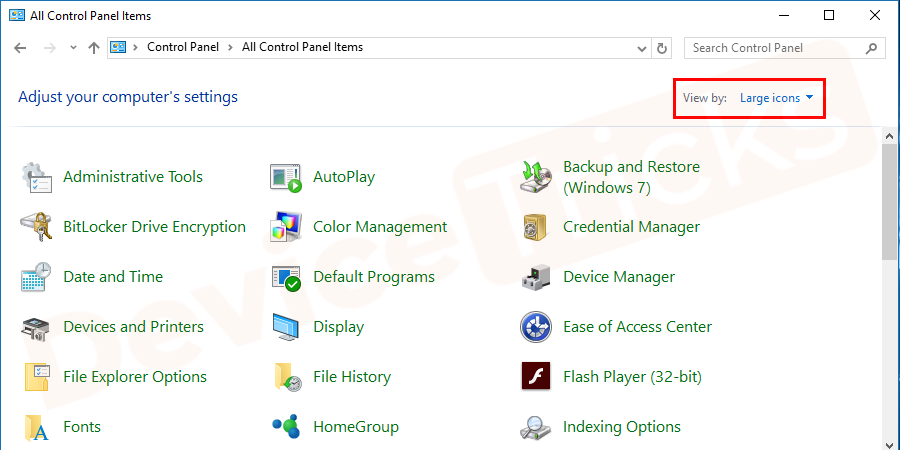 Select Large icons from the top-right of the screen and select the option Java 32-bit if you can see there.