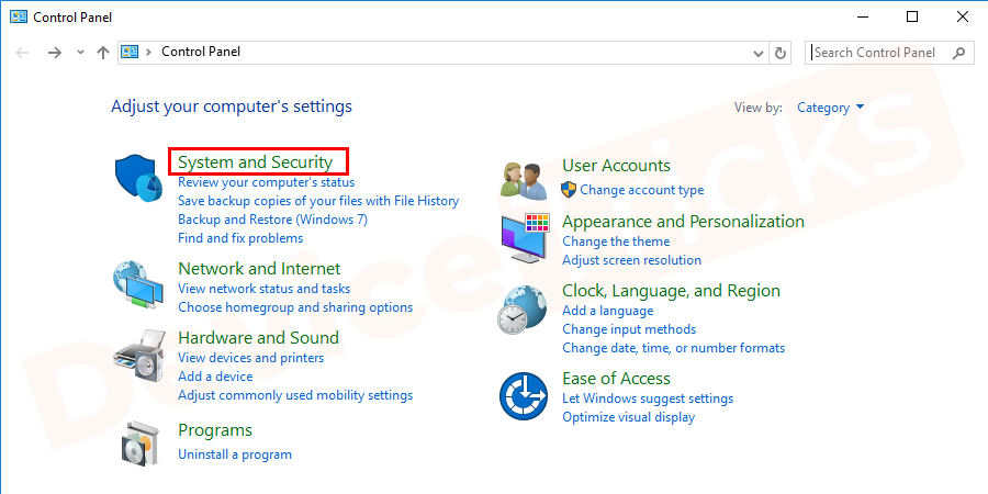 Open the Control Panel and set the View by as Category and click System and Security.