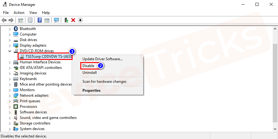 Now select the driver, right-click on it and then choose Disable from the drop-down menu.