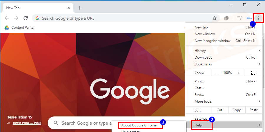 Soon, you will find a few options listed in the 'Help' section, click on 'About Google Chrome'.