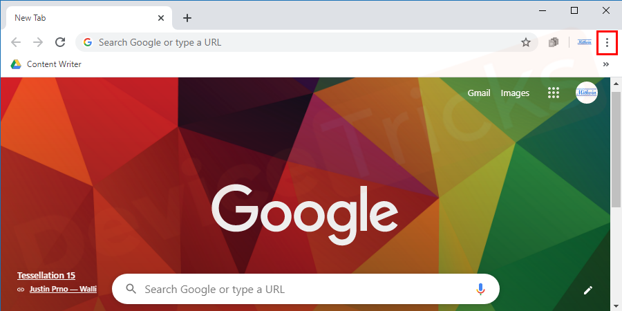 Launch Google Chrome and click on the 'More' icon located at the upper right corner of the page.