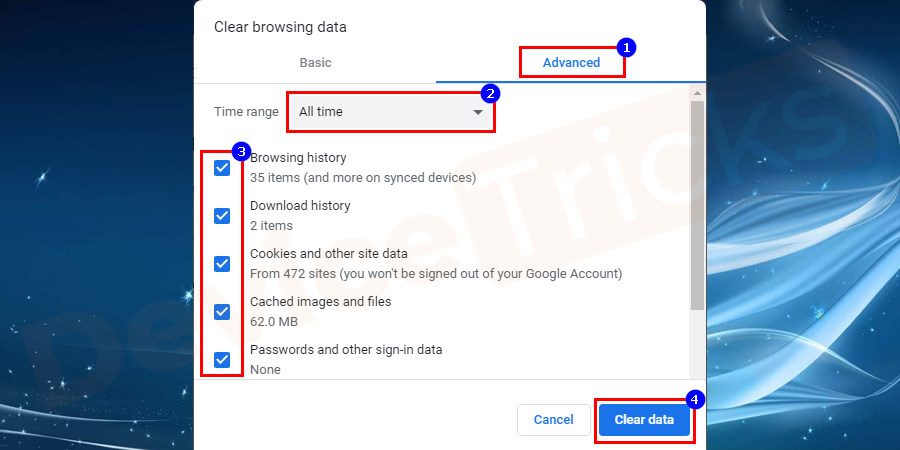 Here you need to select a time range above. To delete everything, select All Time,check the boxes for Cookies and other page data and Cached images and files.