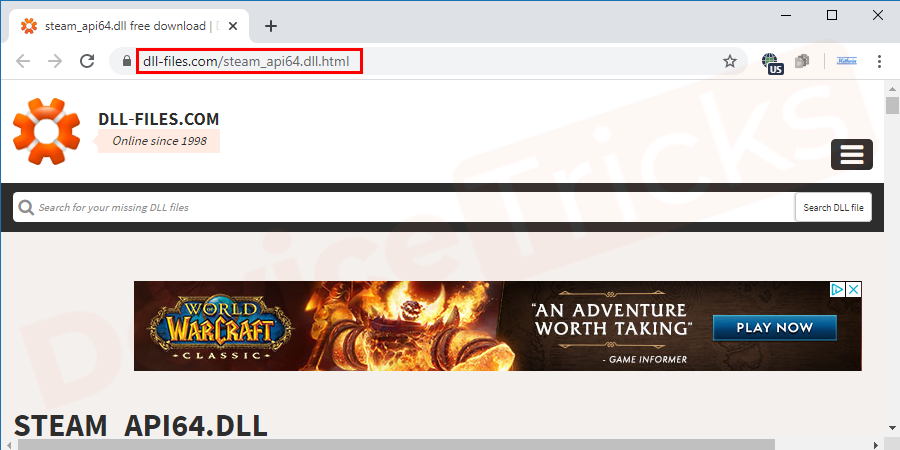 Launch your browser and then visit the official website of DLL or else you can click on the link provided here to reach directlyhttps://www.dll-files.com/steam_api64.dll.html