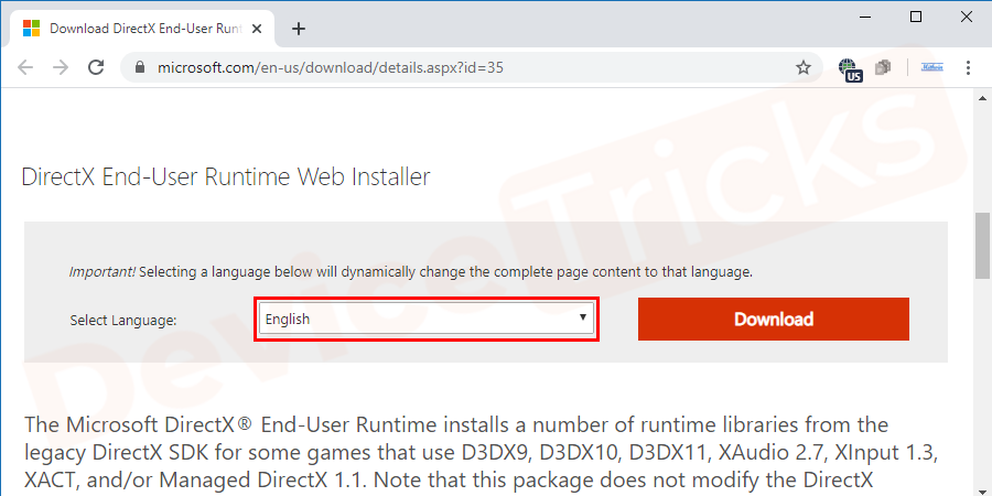 Now, scroll down the page and select the Language from the drop-down menu.