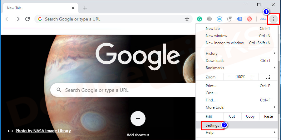 Launch Google Chrome. Click on the 'More' icon located at the top of the page and the same is symbolized with three vertical dots andselect 'Settings' from the drop-down menu.