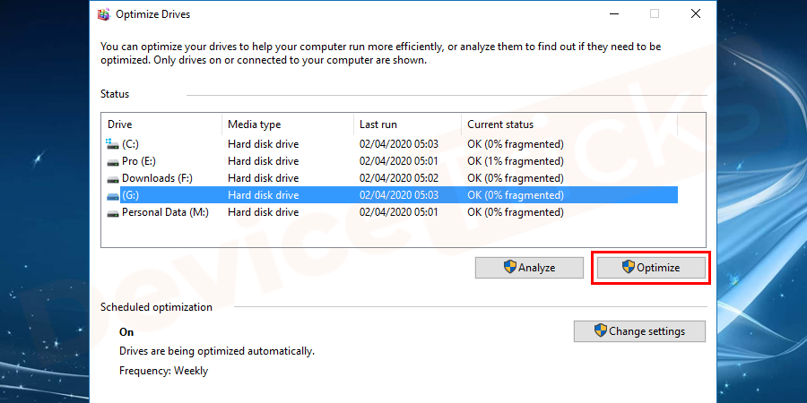 Select the drive that you need to defrag, and click Optimize and follow the on-screen wizard.