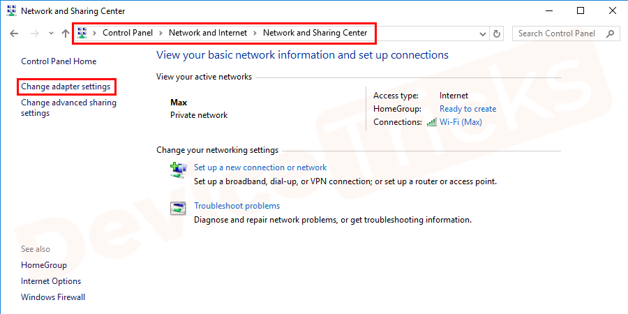 Thereafter, a new window will open which will show the network status, move to the section 'change network settings' and then click on 'Change adapter options'.