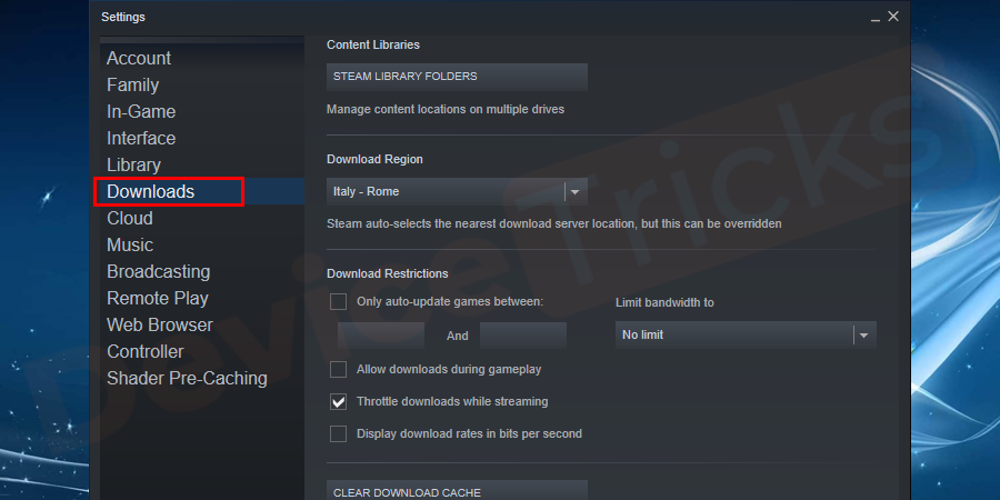 At the left panel of the settings, you will find a Download button, click on it.