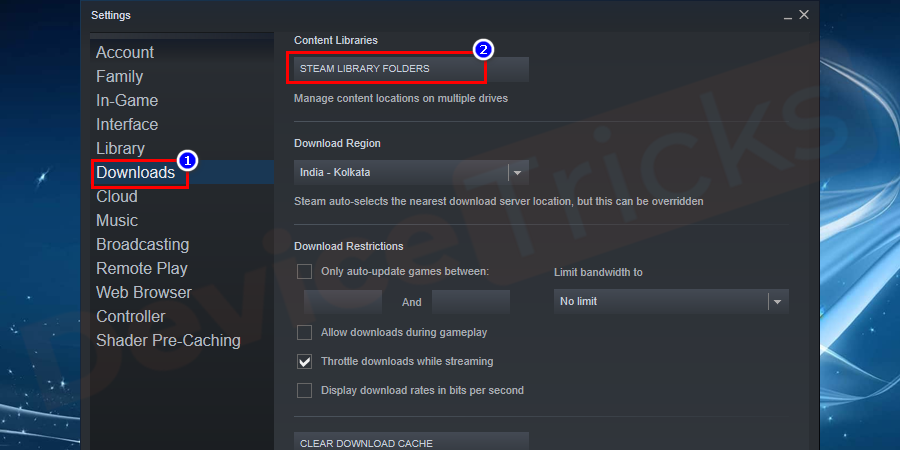 Now move to the content libraries section and then click on STEAM LIBRARY FOLDERS.